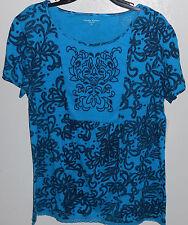 Laura Scott Top Women's Blue & black Tee T-Shirt Tunic Embroidered