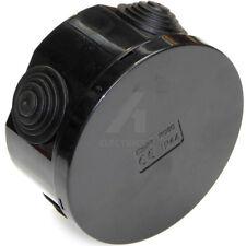 Weatherproof Junction Box 80mm x 40mm Black Outdoor Garden Pond Lighting Cable