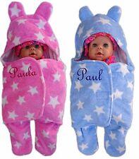 Baby Einschlagdecke mit Namen bestickt Babydecke 3d Kapuze Taufe Geburt Pucktuch