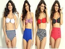 A Rayas O Lunares Pin Up Rojo Azul Blanco Halter de cintura alta Bikini Traje De Baño