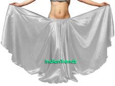 Silver - Satin 16 Yard Double Circle Skirt Belly Dance Gypsy Tribal Flamenco