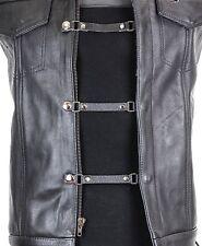 """3 Set Black Leather 1/2"""" Wide Vest Extender Extension For MC Jacket Bikers Vest"""