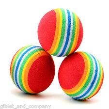 STRIPED FOAM BALLS CAT TOYS Lots 5/10/25/50 Lightweight Dense Foam Rainbow Roll