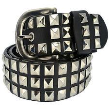 Men Unisex Belt Punk Wide Studded Bonded Faux Leather Belt Pyramid Conical Rivet