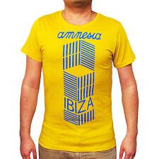 UFFICIALE AMNESIA IBIZA T-shirt Uomo CUBISMO Visual Bianco Giallo Blu Rrp £ 50.00