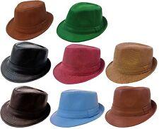 eb8c61720c4 Faux Leather Fedora Gangster Black Brown Hat Cap