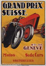 GRAND PRIX SUISSE MOTO SIDE CARS VOITURETTES RACE GENEVE VINTAGE POSTER REPRO