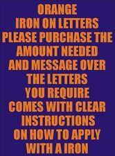 Dos pulgadas de vinilo de hierro a las letras Naranja de transferencia de Superdry con impresión