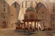 PLAQUE ALU DECO TABLEAU TOILE MOSQUEE CAIRE EGYPTE 1870 PRIERE SULTAN HASSAN