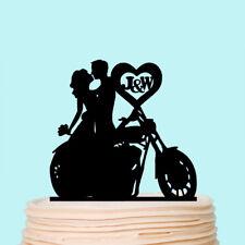 Motorcycle Couple Wedding Cake Topper Bride and Groom Biker Custom Initials