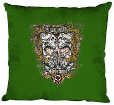 (10831-1 Verde) Cojín Decorativo 40 x 40 cm + Relleno Imprimir calaveras lealtad