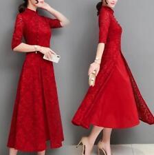 Hot Womens Slim Fit Long Maxi Gown Robe Retro Stand Collar Qipao Cheongsam Dress