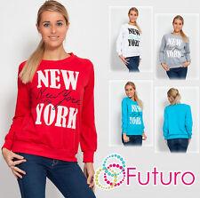 Women's NEW YORK Print Sweatshirt Blouse Jumper Crew Neck Sports Size 8-12 8301
