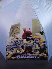 BNIP Boy's or Girls Cute Blue Smurfs Print Auto Opening Umbrella + Bonus Whistle