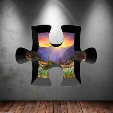 3D Jigsaw Full Colour Mountain Valley Sky Wall Art Sticker Decal  Graphic WSD316