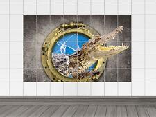 Fliesenaufkleber Fliesenbild Fliesensticker für Badezimmer Bullauge Krokodil