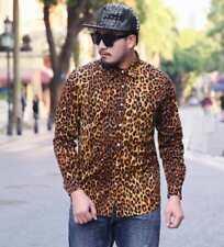 2XL-6XL Mens Leopard Floral Long Sleeve Lapel Slim Shirts Casual Tops Hot J600