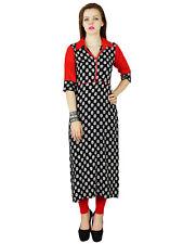 Bimba Black Red Kurta Kurti Rayon 3/4 Sleeve Summer Tunic Long Top Blouse