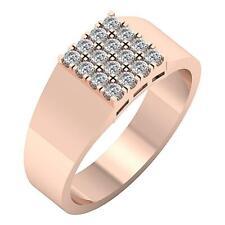 Prong Set I1 G 0.60Ct  Engagement Genuine Diamond Mens Ring 14K Rose Gold 9.00MM