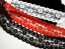 BORTE,SPITZE,BAND,Synthetisch,Spitzenborte,75 mm,Weiß,Rot,Schwarz,*S-575*