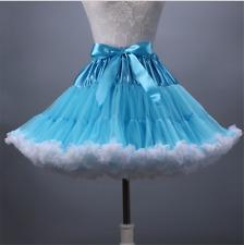 Blue+White Rockabilly Short Petticoat Puffy Ballet Swing Tutu Dance Skirt Slip