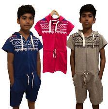 Kids Onsie1 Short sleeve jumpsuit Boys Girls Aztec Hooded Pyjamas unisex Pink