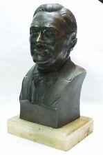 "Franklin Delano Roosevelt smiling interesting old small bronze bust 5 "" x 3 """
