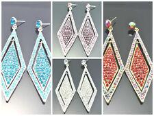 Elegant  Diamante Crysta Diamond-Shaped Style Chandelier Dangle Earrings