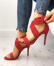 Sandali stiletto tronchetto  rosso 12 cm  simil pelle eleganti 1300