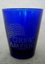 Cobalt Blue Shot Glass-Etched GREAT AMERICA / U.S. Flag