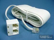 Leviton White 25ft Phone Line Dual Extension Cord RJ11 RJ-11 4-Wire C2427-25W