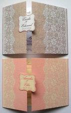 Échantillon de dentelle sur pastel ou de Hesse * Amour Dentelle * mariage invitation Papeterie