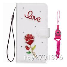 Bling Crystal Diamond Love Red rose leather wallet flip Phone Case skin & Strap
