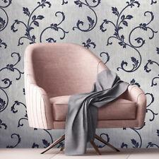 Flocking Wallpaper Silver Metallic Onyx Blue Textured Flock Victorian Damask 3D