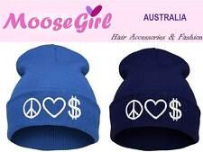PEACE LOVE MONEY Plain Colour Beanie Women Teens Winter Warm Knitted Hats Cap