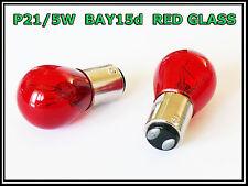 2 x P21/5W 380 BAY15D 1157 RED GLASS STOP TAIL CAR BULBS E