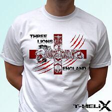 Inglaterra Leones Bandera-Camiseta Blanca Diseño Superior-Para Hombre Para Mujer Niños Bebé Tamaños