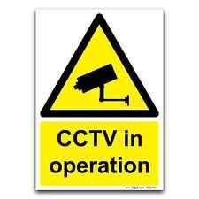 Cctv in operation warning sécurité surveillance signe plastique rigide & vinyle autocollant