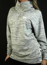 Victoria's Secret PINK Sweatshirt High Mockneck Lace Up Boyfriend Fleece Marl