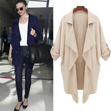 Fashion Women Ladies Open Front Trench Cardigan Jacket Overcoat Oversize Blazer