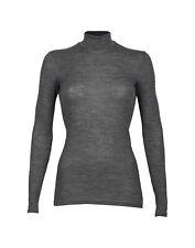 DILLING Rippshirt für Damen mit Stehkragen dunkelgrau -100% BIO-Merinowolle NEU