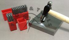 Metal Stamping Starter Kit Number & Letter Stamps Ball Peen Hammer Steel Block