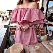 Fashion Korean Style Women Sexy Summer Ruffled Flounce Off Shoulder Mini Dress