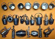 Vintage sterling silver charms CHAMPAGNE BUCKET WINE RACK SYPHON BARREL DRUNKMAN