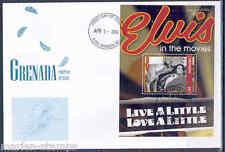 """GRENADA  ELVIS PRESLEY """" LIVE A LITTLE  LOVE A LITTLE"""" SOUVENIR SHEET III  FDC"""