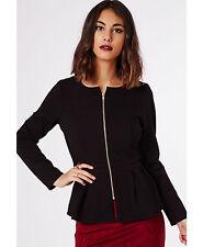 New Women Ladies Zip up Peplum Frill Tailored Blazer Jacket Coat Top UK 8-24