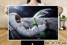 Universe Moon Spaceman Drink Beer World Map Silk Canvas Poster Art Wall Decor 35