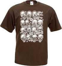 T Shirt im Schokoton mit einem Gothik-,Biker-&Tattoomotiv Modell Skulls Bling