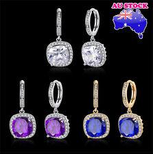 Wholesale Elegant 18k Gold Filled Zircon Crystal Drop Dangle Earrings Bride