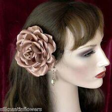 Rose Headpiece Prom Fascinator Hair Flower Brooch Swarovski Crystal BEIGE PINK